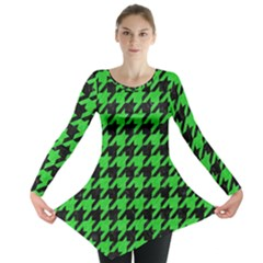 Houndstooth1 Black Marble & Green Colored Pencil Long Sleeve Tunic
