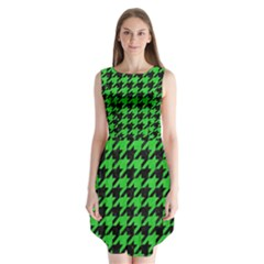 Houndstooth1 Black Marble & Green Colored Pencil Sleeveless Chiffon Dress