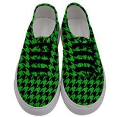 Houndstooth1 Black Marble & Green Colored Pencil Men s Classic Low Top Sneakers