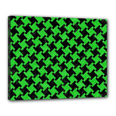 Houndstooth2 Black Marble & Green Colored Pencil Canvas 20  X 16