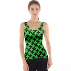 Houndstooth2 Black Marble & Green Colored Pencil Tank Top
