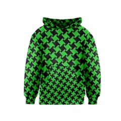 Houndstooth2 Black Marble & Green Colored Pencil Kids  Pullover Hoodie