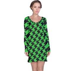 Houndstooth2 Black Marble & Green Colored Pencil Long Sleeve Nightdress
