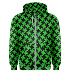 Houndstooth2 Black Marble & Green Colored Pencil Men s Zipper Hoodie