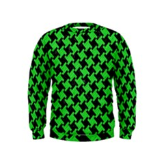 Houndstooth2 Black Marble & Green Colored Pencil Kids  Sweatshirt