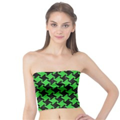 Houndstooth2 Black Marble & Green Colored Pencil Tube Top