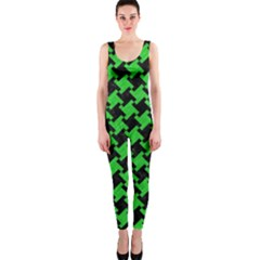 Houndstooth2 Black Marble & Green Colored Pencil Onepiece Catsuit