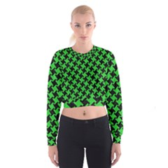 Houndstooth2 Black Marble & Green Colored Pencil Cropped Sweatshirt