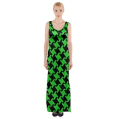 Houndstooth2 Black Marble & Green Colored Pencil Maxi Thigh Split Dress