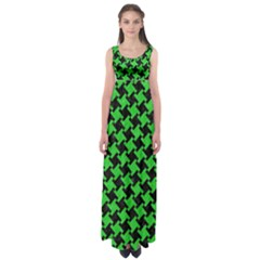 Houndstooth2 Black Marble & Green Colored Pencil Empire Waist Maxi Dress