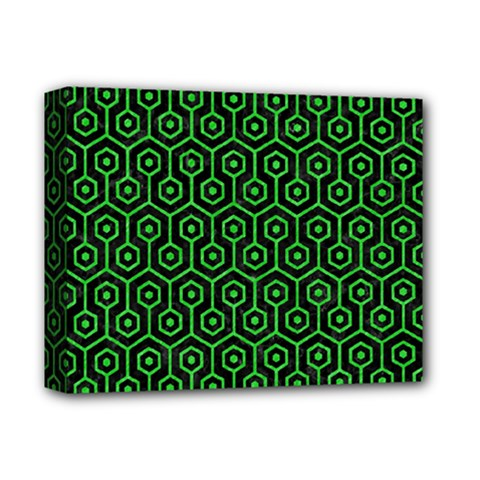 Hexagon1 Black Marble & Green Colored Pencil Deluxe Canvas 14  X 11