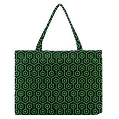 Hexagon1 Black Marble & Green Colored Pencil Zipper Medium Tote Bag