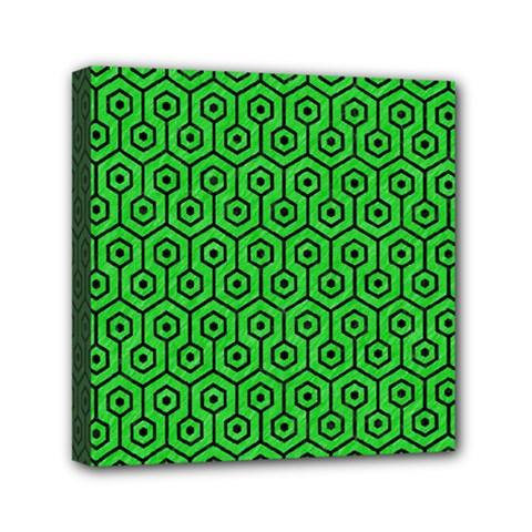 Hexagon1 Black Marble & Green Colored Pencil (r) Mini Canvas 6  X 6