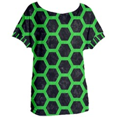 Hexagon2 Black Marble & Green Colored Pencil Women s Oversized Tee