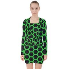 Hexagon2 Black Marble & Green Colored Pencil V Neck Bodycon Long Sleeve Dress
