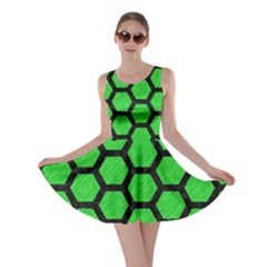 Hexagon2 Black Marble & Green Colored Pencil (r) Skater Dress