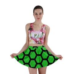 Hexagon2 Black Marble & Green Colored Pencil (r) Mini Skirt