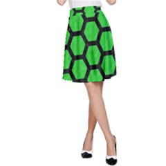 Hexagon2 Black Marble & Green Colored Pencil (r) A Line Skirt