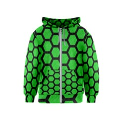 Hexagon2 Black Marble & Green Colored Pencil (r) Kids  Zipper Hoodie