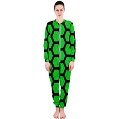 Hexagon2 Black Marble & Green Colored Pencil (r) Onepiece Jumpsuit (ladies)