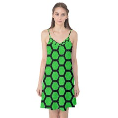 Hexagon2 Black Marble & Green Colored Pencil (r) Camis Nightgown