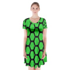 Hexagon2 Black Marble & Green Colored Pencil (r) Short Sleeve V Neck Flare Dress