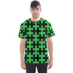 Puzzle1 Black Marble & Green Colored Pencil Men s Sports Mesh Tee