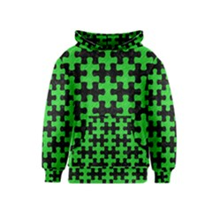 Puzzle1 Black Marble & Green Colored Pencil Kids  Pullover Hoodie