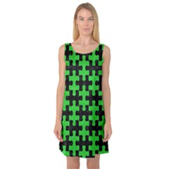 Puzzle1 Black Marble & Green Colored Pencil Sleeveless Satin Nightdress