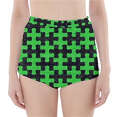 Puzzle1 Black Marble & Green Colored Pencil High Waisted Bikini Bottoms