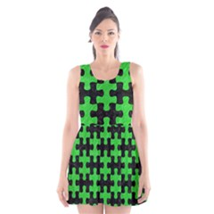 Puzzle1 Black Marble & Green Colored Pencil Scoop Neck Skater Dress