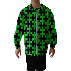 Puzzle1 Black Marble & Green Colored Pencil Hooded Wind Breaker (kids)