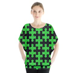 Puzzle1 Black Marble & Green Colored Pencil Blouse