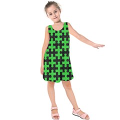 Puzzle1 Black Marble & Green Colored Pencil Kids  Sleeveless Dress