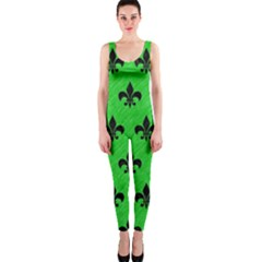 Royal1 Black Marble & Green Colored Pencil Onepiece Catsuit