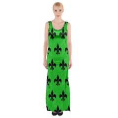 Royal1 Black Marble & Green Colored Pencil Maxi Thigh Split Dress