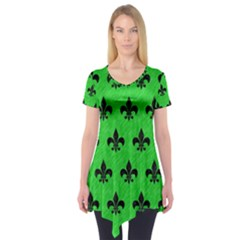 Royal1 Black Marble & Green Colored Pencil Short Sleeve Tunic