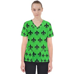 Royal1 Black Marble & Green Colored Pencil Scrub Top