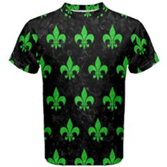 Royal1 Black Marble & Green Colored Pencil (r) Men s Cotton Tee