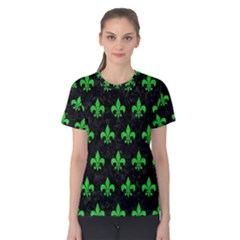 Royal1 Black Marble & Green Colored Pencil (r) Women s Cotton Tee