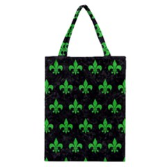 Royal1 Black Marble & Green Colored Pencil (r) Classic Tote Bag