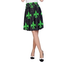 Royal1 Black Marble & Green Colored Pencil (r) A Line Skirt