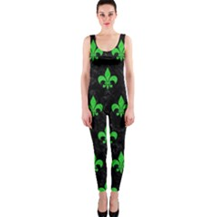 Royal1 Black Marble & Green Colored Pencil (r) Onepiece Catsuit