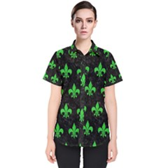 Royal1 Black Marble & Green Colored Pencil (r) Women s Short Sleeve Shirt