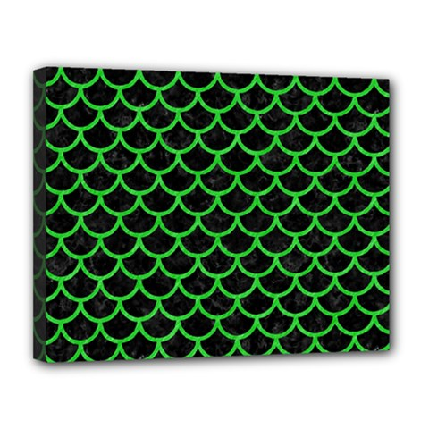 Scales1 Black Marble & Green Colored Pencil Canvas 14  X 11