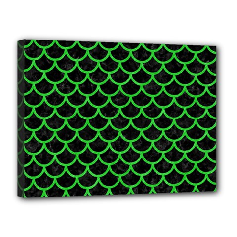 Scales1 Black Marble & Green Colored Pencil Canvas 16  X 12