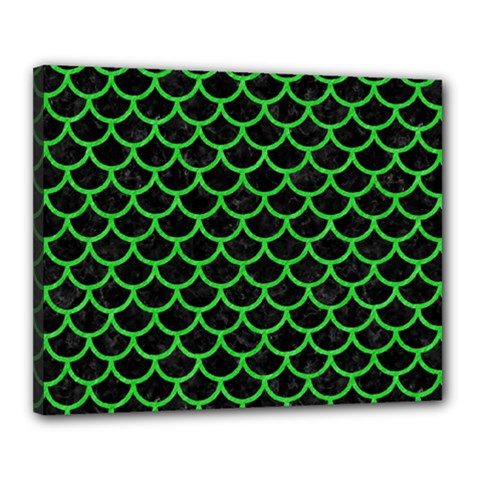 Scales1 Black Marble & Green Colored Pencil Canvas 20  X 16