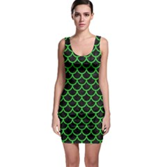 Scales1 Black Marble & Green Colored Pencil Bodycon Dress