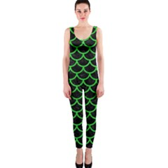 Scales1 Black Marble & Green Colored Pencil Onepiece Catsuit