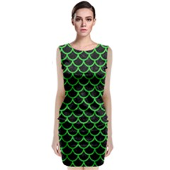 Scales1 Black Marble & Green Colored Pencil Classic Sleeveless Midi Dress